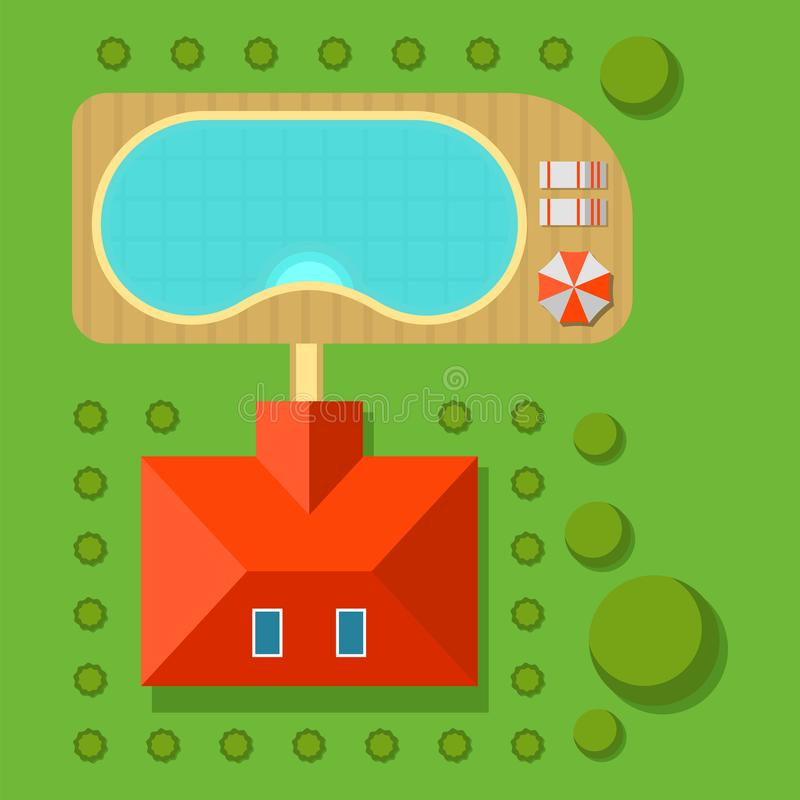 Plan of private house vector illustration top view of outdoor home landscape. Plan of private house vector illustration. Top view of outdoor home landscape villa vector illustration