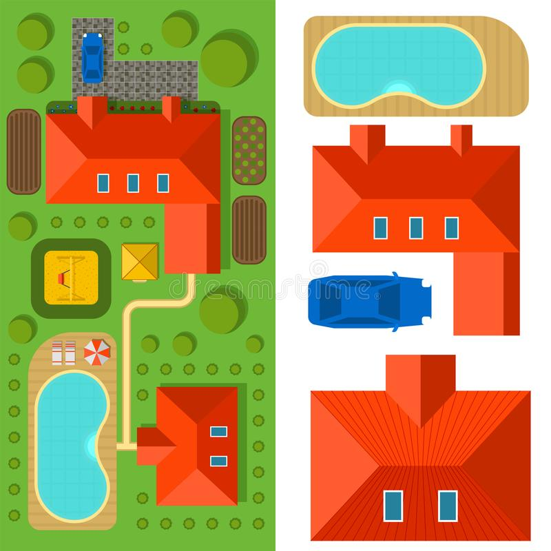 Plan of private house vector illustration top view of outdoor home landscape villa map constructor design building. Plan of private house vector illustration royalty free illustration