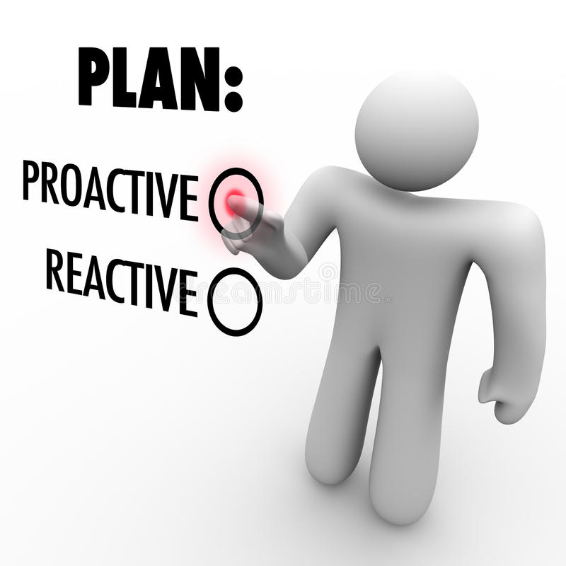 Plan-proaktive oder reagierende Strategie beschließen das Kommando zu übernehmen stock abbildung