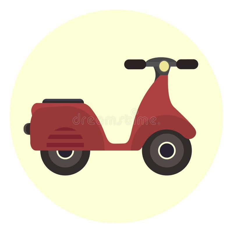 Plan röd sparkcykelsymbol, motorisk cykel Modern ungdomstadstransport stock illustrationer