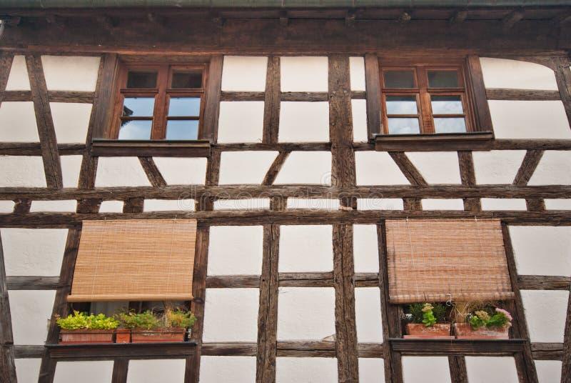 Plan rapproché à colombage de maison, Colmar, France image libre de droits