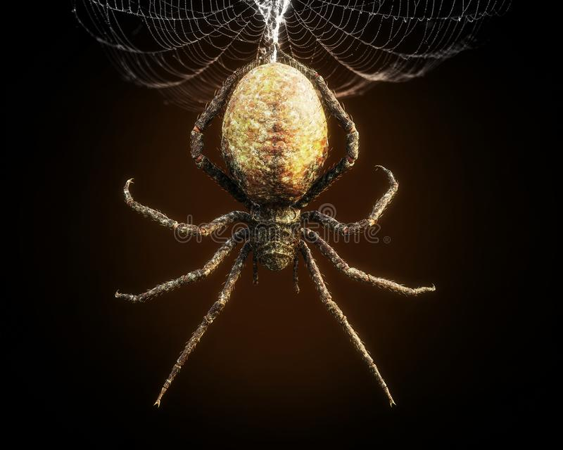 Plan rapproché abstrait d'une araignée énorme balançant de son Web illustration stock