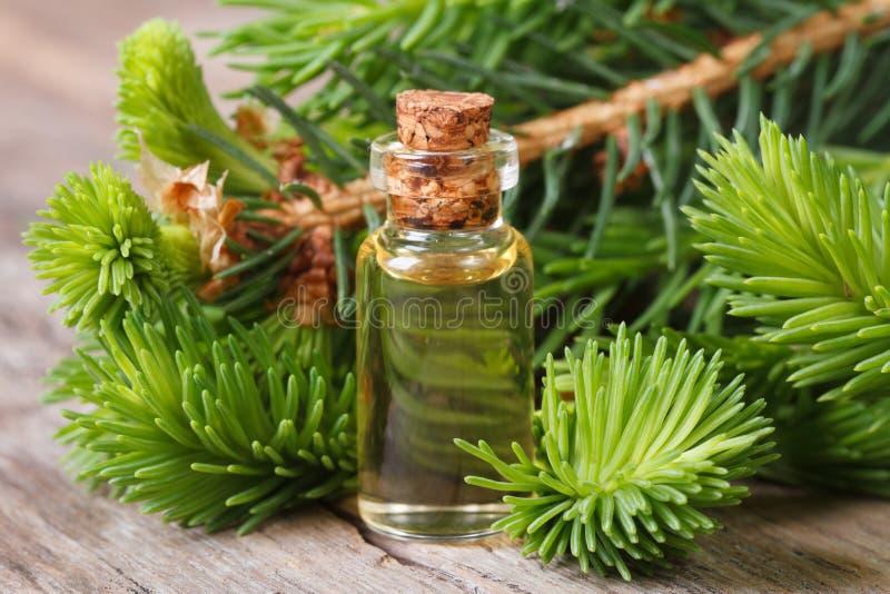 Plan rapproché aromatique essentiel de sapin d'huile sur un en bois image libre de droits