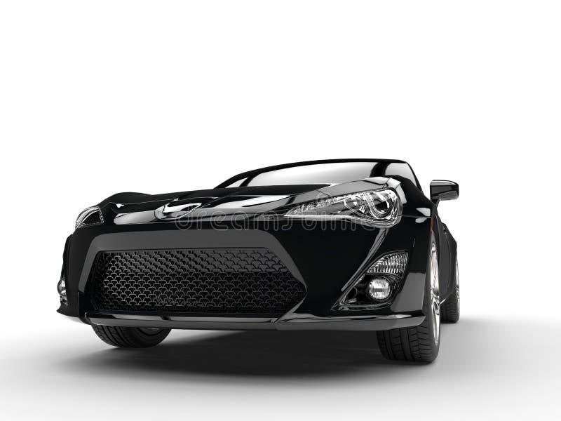 Plan rapproché automobile de vue de face de sports noirs génériques illustration libre de droits