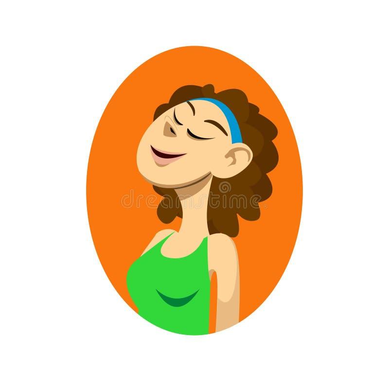 Plan rapproché avec le portrait de la fille de sourire de forme physique avec les yeux fermants illustration de vecteur