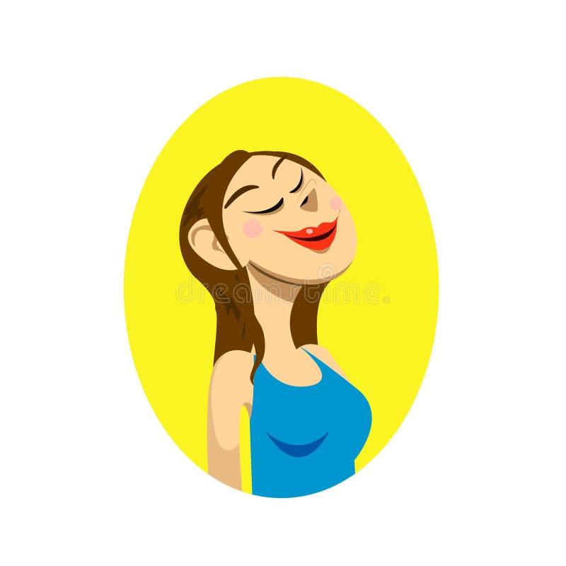 Plan rapproché avec le portrait de la fille de sourire avec les yeux fermants et les lèvres rouges illustration stock