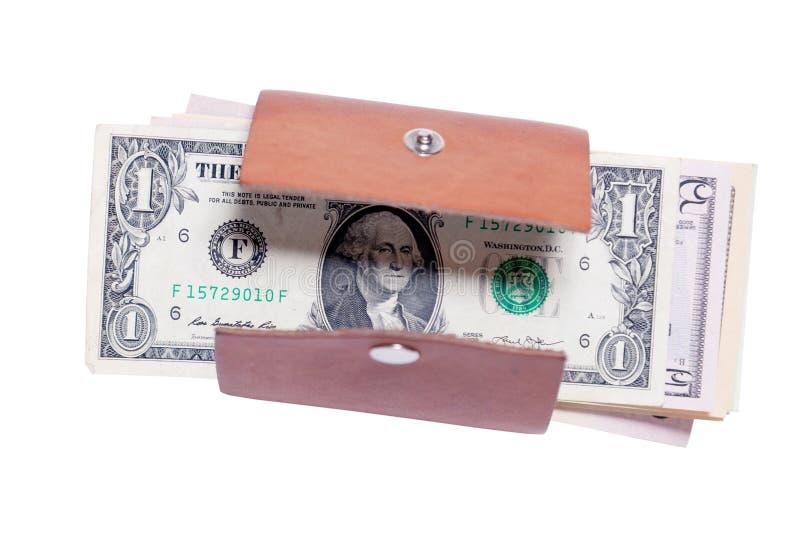 Plan rapproché beaucoup de billets de banque américains du dollar dans le petit portefeuille brun en cuir ouvert avec le bouton S images libres de droits
