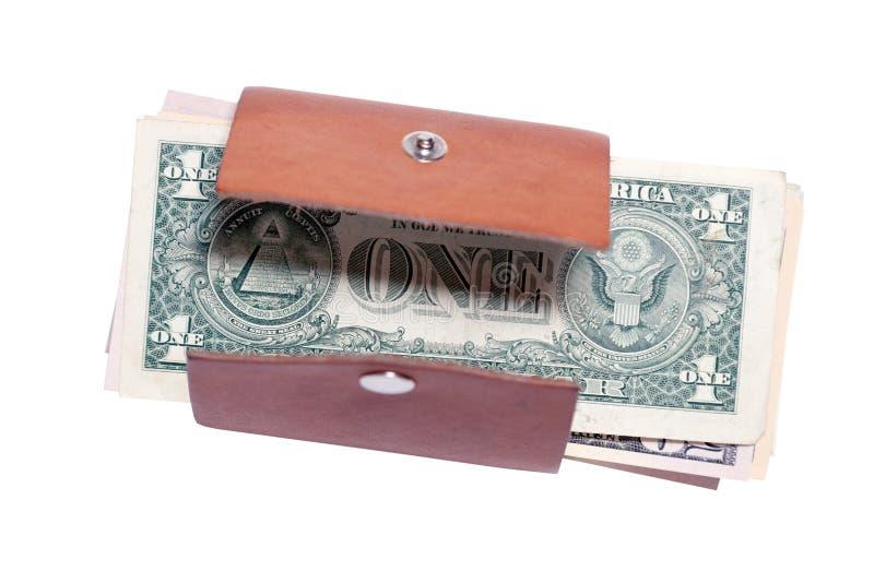 Plan rapproché beaucoup de billets de banque américains du dollar dans le petit portefeuille brun en cuir ouvert avec le bouton S photos libres de droits