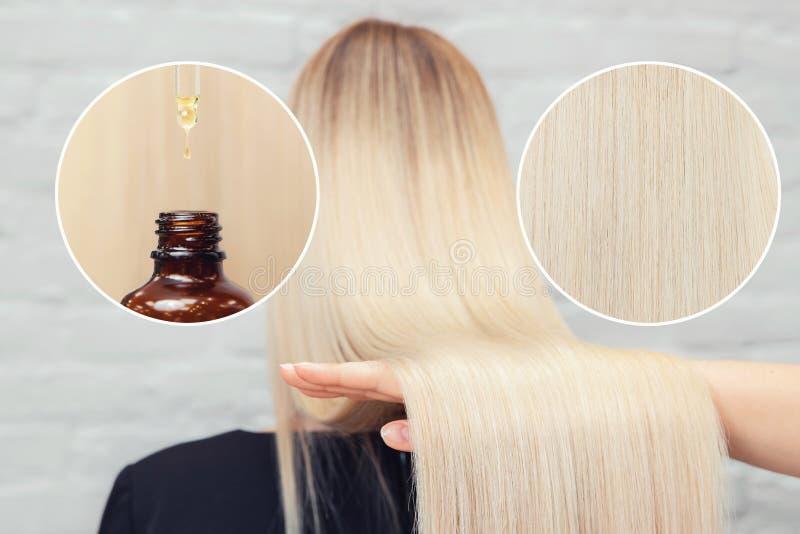 Plan rapproché blond de fille de cheveux propres bons Soin et nutrition de concept avec de l'huile derrière la tête image stock