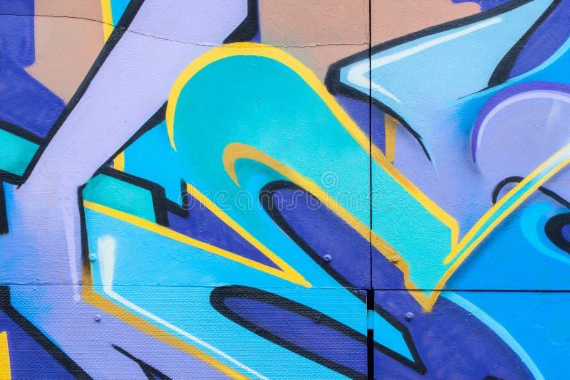 Plan rapproché coloré de style de graffiti de bel art abstrait de rue concept de conception moderne, jeunesse urbaine iconique de photos stock