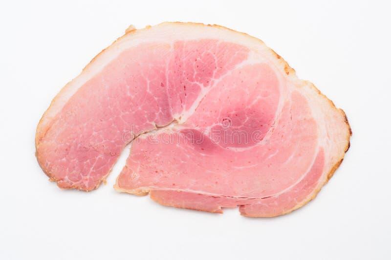 Plan rapproché cuit au four de tranche de jambon images stock