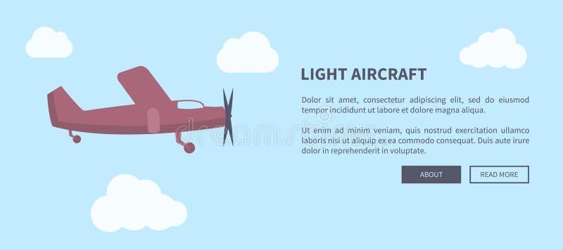 Plan rapproché d'avions légers d'avion dans la bannière de couleur illustration de vecteur