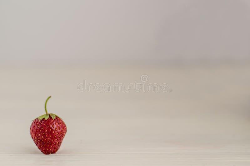 Plan rapproché d'isolement par baie mûre fraîche de fraise d'été sur le fond en bois blanc, l'espace de copie photo stock