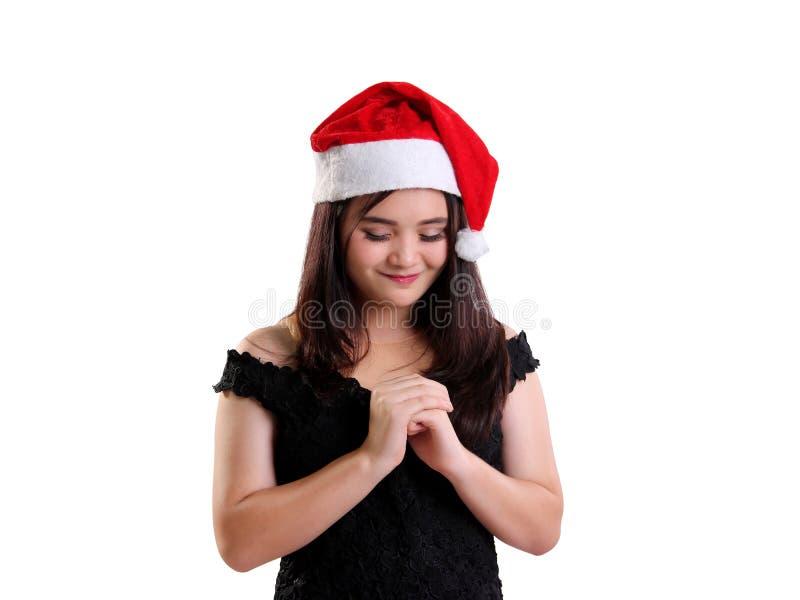 Plan rapproché d'isolement par fille de prière de Noël photos libres de droits