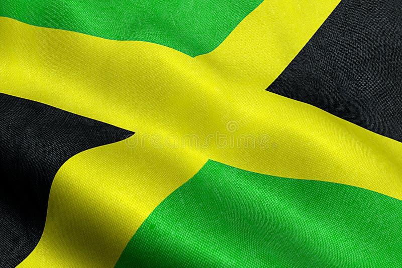Plan rapproché d'onduler le drapeau de la Jamaïque, rayures croisées, symbole national de jamaïcain photographie stock libre de droits