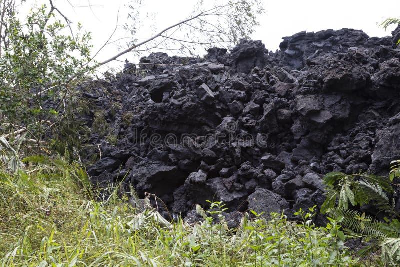 Plan rapproché d'un écoulement de lave du volcan Kilauea sur Hawaï photographie stock