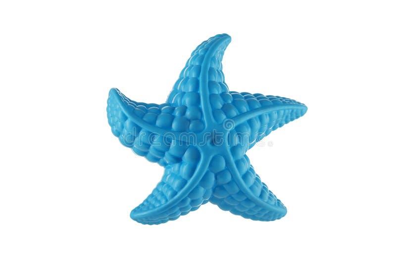 Plan rapproché d'une étoile de mer bleue sur un blanc image libre de droits
