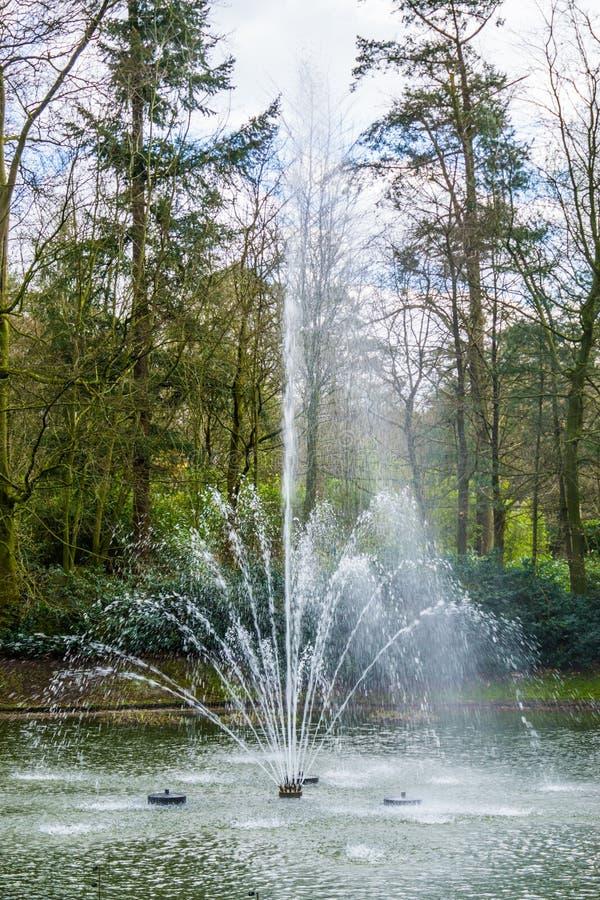 Plan rapproché d'une eau de pulvérisation de fontaine d'eau, belles décorations pour le jardin image libre de droits