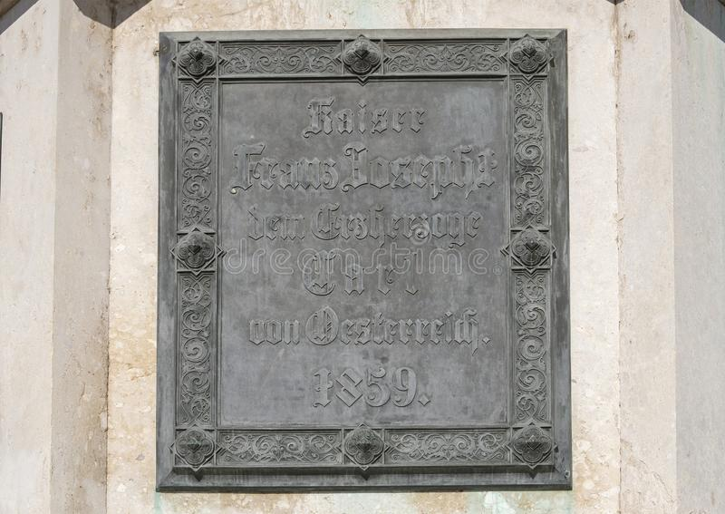 Plan rapproché d'une plaque, statue d'archiduc Charles sur le Heldensplatz à Vienne, Autriche image libre de droits