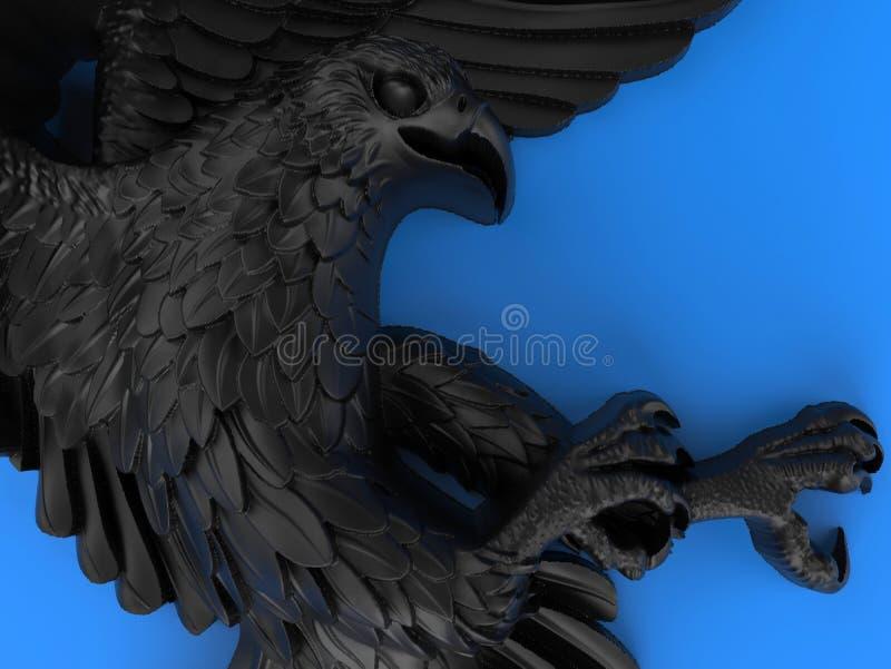 Plan rapproché d'une sculpture noire détaillée en aigle illustration libre de droits