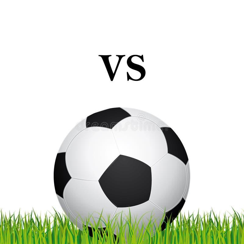 Plan rapproché de ballon de football Teams des adversaires Champ d'herbe de stade de football sur un fond blanc illustration de vecteur