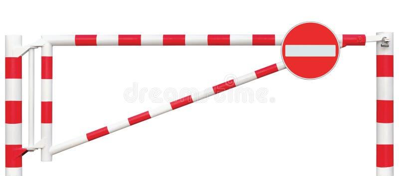 Plan rapproché de barrière de galerie, aucun signe d'entrée, rouge blanc de barre de porte de chaussée, passage de point de degré photos stock