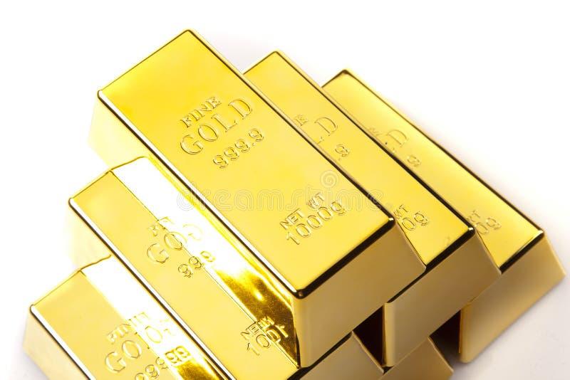 Plan rapproché de bars d'or image libre de droits