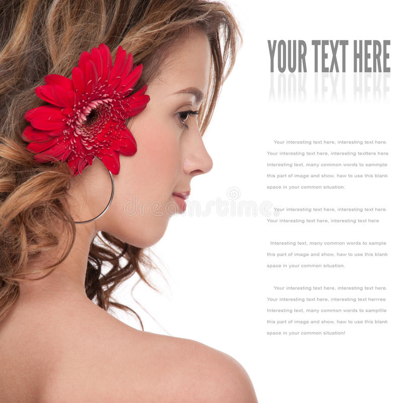 Plan rapproché de belle fille avec la fleur rouge d'aster photo libre de droits