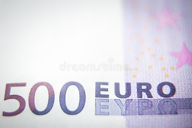 plan rapproché de billet de banque d'argent de l'euro 500 pour le fond photographie stock