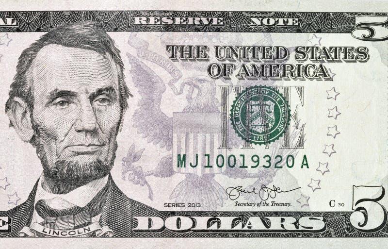 Plan rapproché de billet de banque de dollar US cinq photographie stock libre de droits
