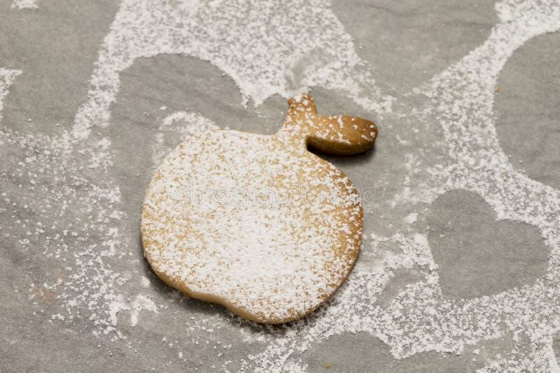 Plan rapproché de biscuit en poudre avec du sucre photographie stock