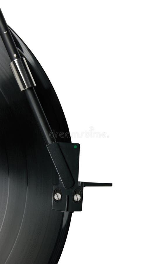 Plan rapproché de bras de lecture de tourne-disque macro d'isolement photos libres de droits