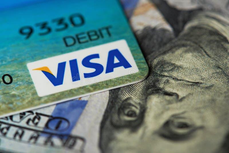 Plan rapproché de carte visa image libre de droits