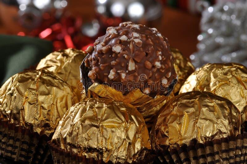 Plan rapproché de chocolats de Noël photographie stock