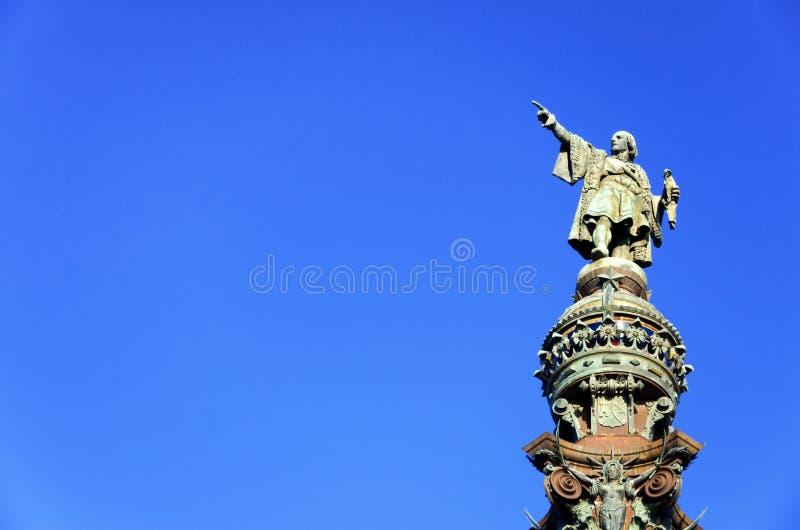 Plan rapproché de Christopher Columbus en monument à Barcelone photo stock