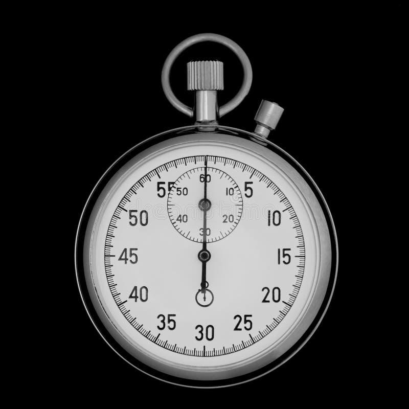 Plan rapproché de chronomètre sur le noir images libres de droits