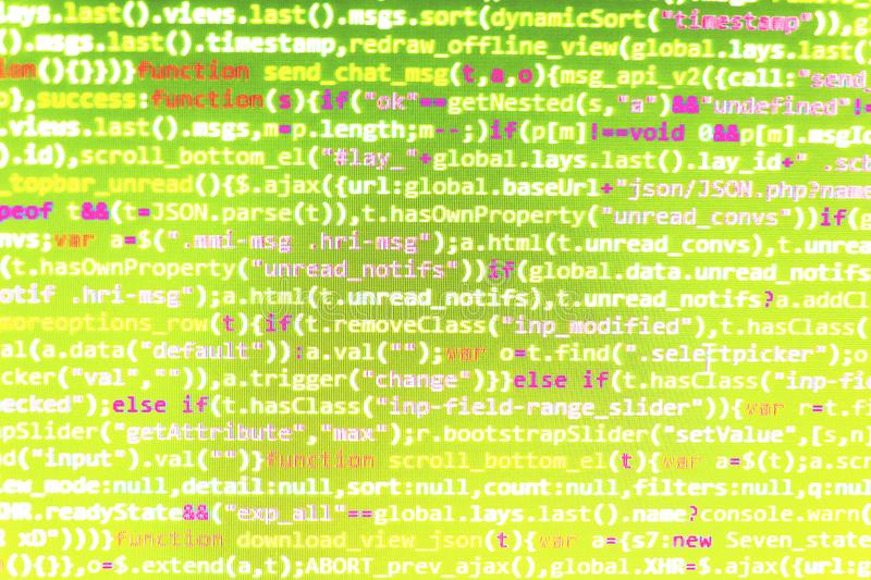 Plan rapproché de code de Java Script, de CSS et de HTML images libres de droits