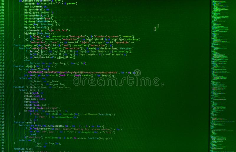 Plan rapproché de code de Java Script, de CSS et de HTML images stock