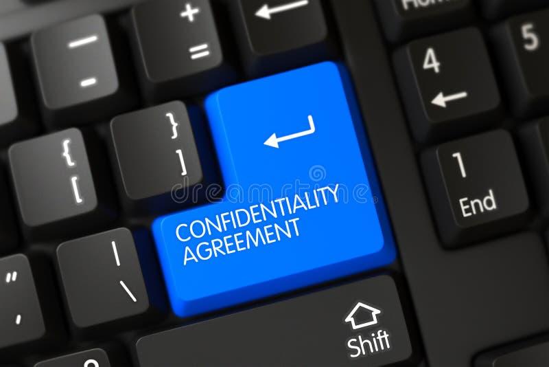 Plan rapproché de convention de confidentialité de clé de clavier bleue 3d illustration libre de droits