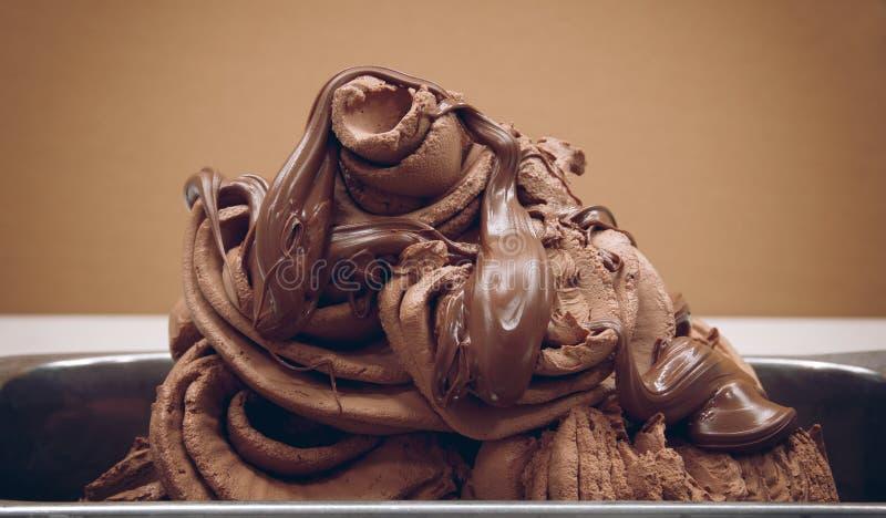 Plan rapproché de crème glacée de chocolat Texture de la crême glacée image stock