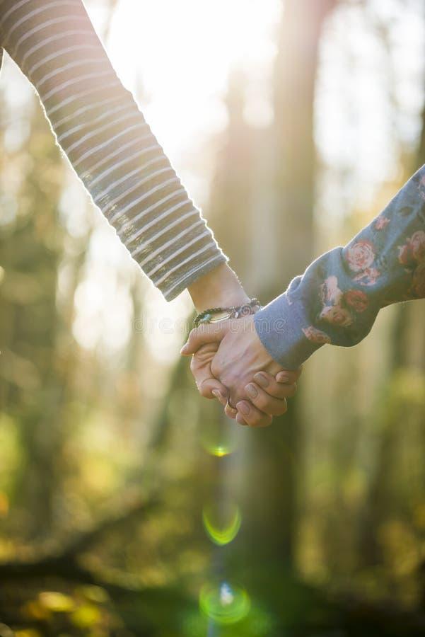 Plan rapproché de deux femmes tenant des mains dehors dans une belle forêt photo stock
