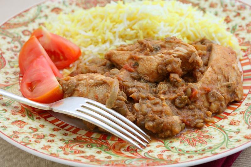 Plan rapproché de dhansak de poulet photo stock