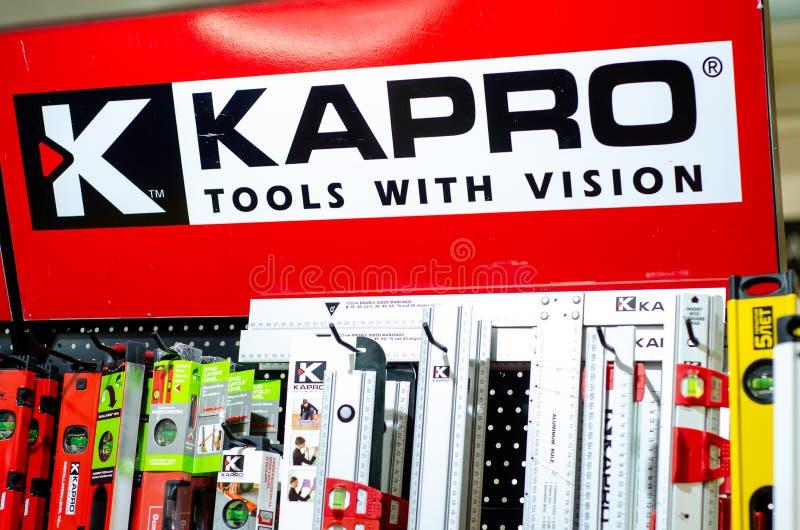 Plan rapproch? de diff?rents niveaux de Kapro Kapro est un principal fabricant de niveaux de laser photos stock