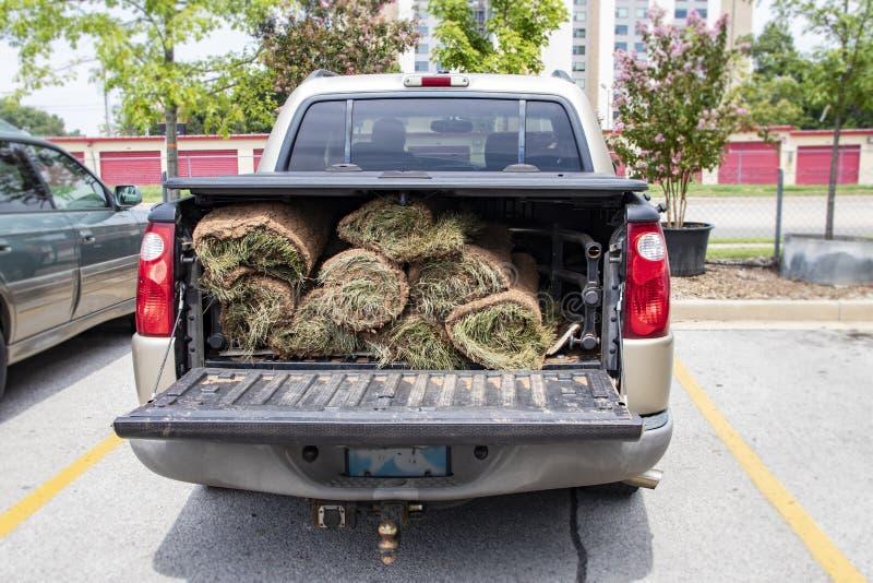 Plan rapproché de dos de camion pick-up avec le protecteur de lit et les rouleaux de gazon dans le dos avec la porte à rabattemen photo stock