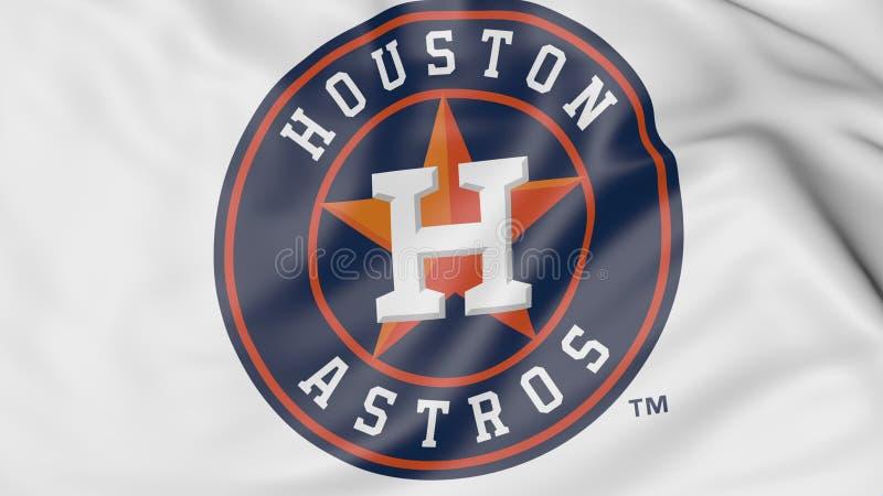 Plan rapproché de drapeau de ondulation avec le logo d'équipe de baseball de Houston Astros MLB, rendu 3D illustration libre de droits