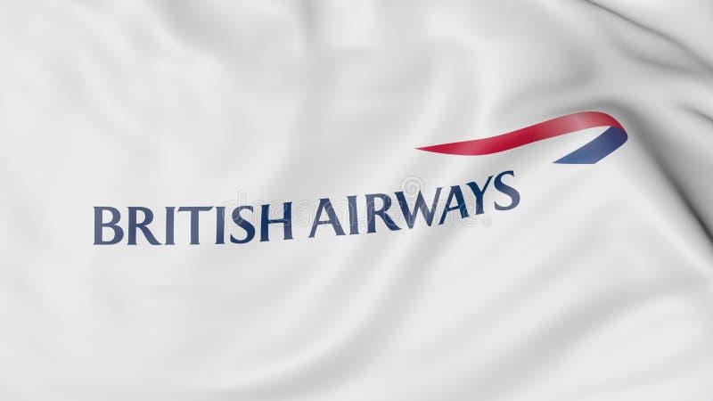 Plan rapproché de drapeau de ondulation avec le logo de British Airways, rendu 3D éditorial illustration libre de droits