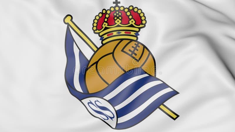 Plan rapproché de drapeau de ondulation avec le logo de club du football de Real Sociedad, rendu 3D illustration de vecteur