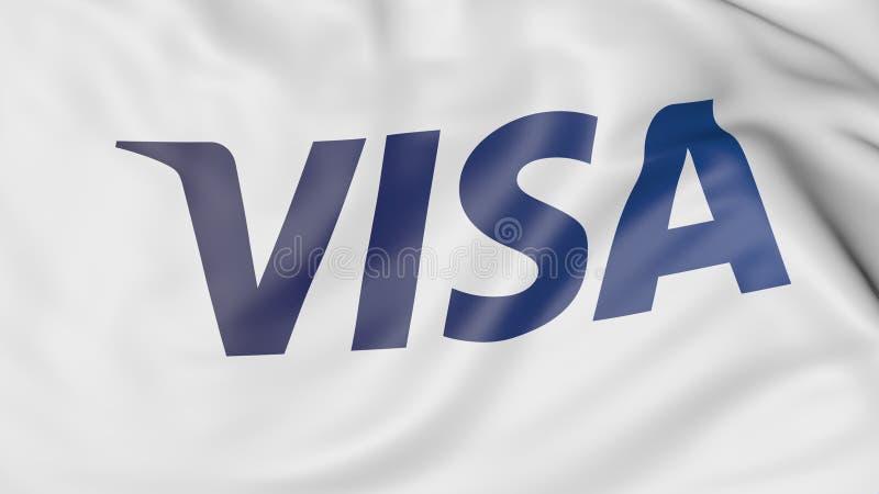 Plan rapproché de drapeau de ondulation avec Visa Inc logo, rendu 3D éditorial illustration libre de droits