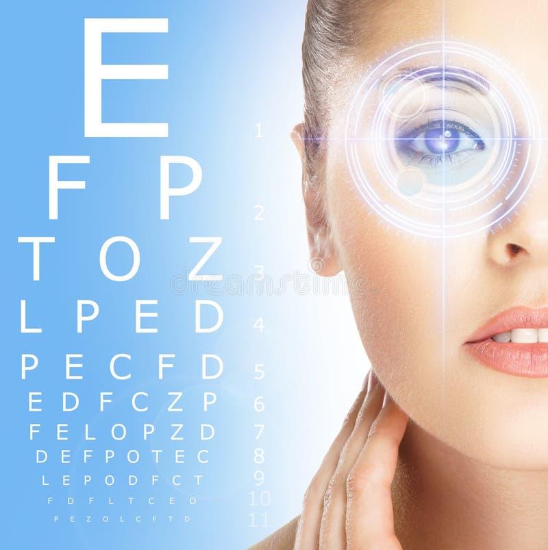 Plan rapproché de femme avec l'optométrie de laser photos libres de droits
