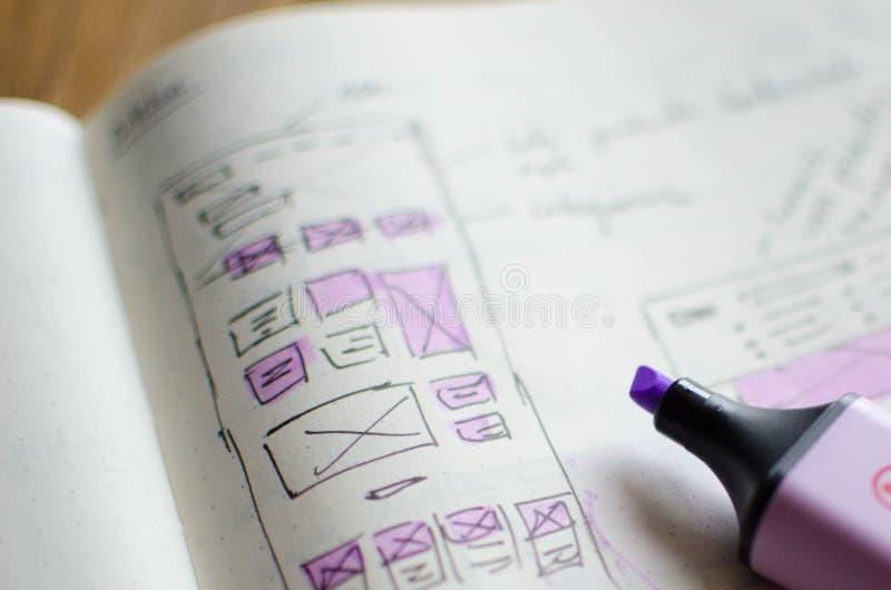 Plan rapproché de feuille d'ébauche d'UI/UX avec des secteurs accentués avec un marqueur magique image stock